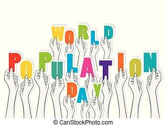 世界, 人口, デザイン, 日, ポスター