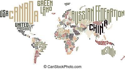 世界, 作られた, 活版印刷, 地図