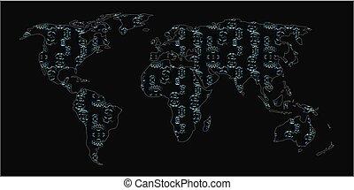 世界, 作られた, gearwheels, 地図