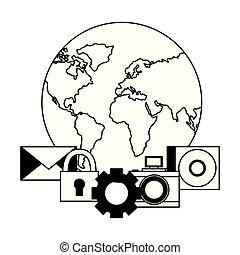 世界, 保安用カメラ, ギヤ, 電子メール