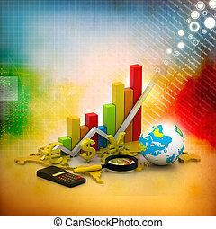 世界, 分析, ビジネス, グラフ