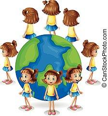 世界, 別, 角度, 女の子