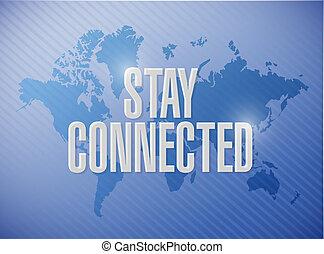 世界, 印, 接続される, 滞在, イラスト, 地図