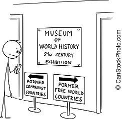 世界, 印, 漫画, イラスト, 国, 見る, 自由, ベクトル, テキスト, 無料で, 人, あいまいである, 指摘, 損失, 西部, 自由, 博物館