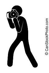 世界, 取得, スティック, 8月, 写真, 背景, 人, カメラ。, 写真撮影, 日, 数字, 白, ベクトル, 19th.