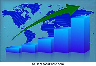 世界, 圖表, 向上
