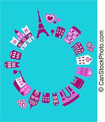 世界, 在中, 巴黎, -, 矢量, 描述