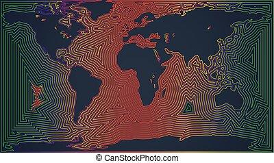 世界, 地図, ベクトル, イラスト, カラフルである