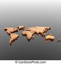 世界, 地理的な地図, シルエット