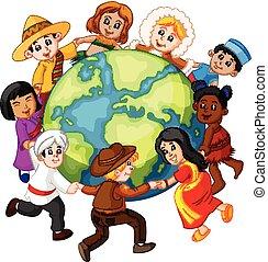 世界, 子供, のまわり, 手を持つ