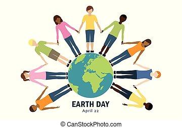 世界, 子供, のまわり, 日, 地球