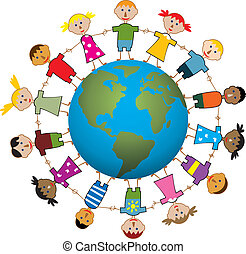 世界, 子供, のまわり
