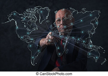世界, 年長者, connections., businessman., 事務