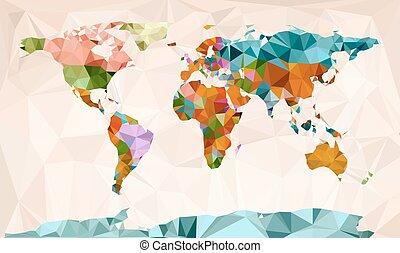 世界, 幾何学的, ベクトル, デザイン, 地図