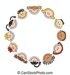 世界, 微笑, 背景, 白, 子供, 円, 子供