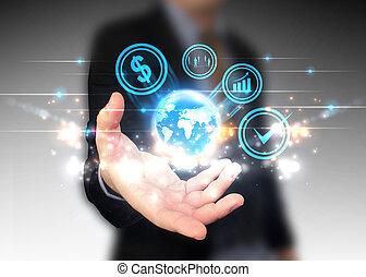 世界, 手の 保有物, ビジネス アイコン