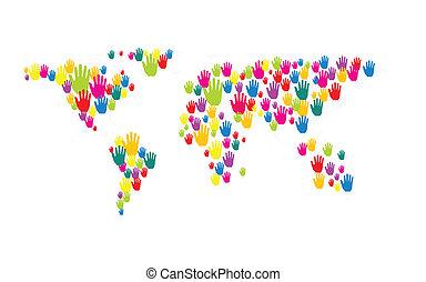 世界, 手, ベクトル, 地図