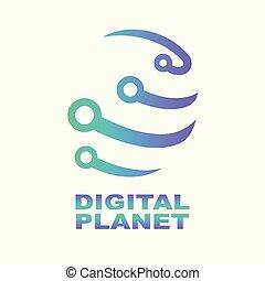 世界, 技術, ロゴ, デザイン, template., ネットワーク, デジタル, technology., 抽象的, デジタル, 形, 概念, ∥ために∥, 現代 技術