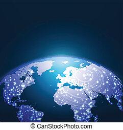 世界, 技術, 网絡, 背景, 矢量, 插圖
