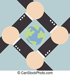 世界, 接続, のまわり, 手