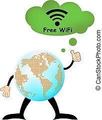 世界, 接続, インターネット