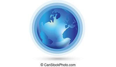 世界, 接続, 世界的である, ロゴ
