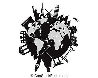 世界 旅行, のまわり