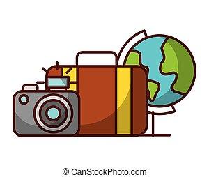 世界 旅行, カメラ, 休暇, スーツケース