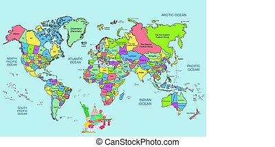 世界 旅行, 地図