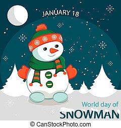 世界, 日, の, 雪だるま, ベクトル, イラスト