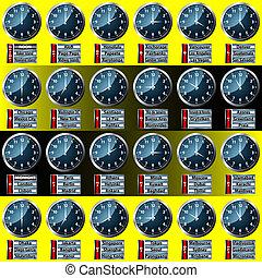 世界, 時間, 顯示, 區域, 鐘