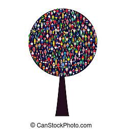 世界, 木, 人々