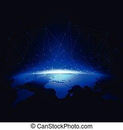 世界, 濾網, 數字, 通訊, 以及, 技術, 网絡, 概念, 矢量, 插圖