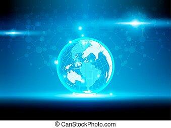 世界, 濾網, 數字, 通訊, 以及, 技術, network., 矢量, 插圖, 設計