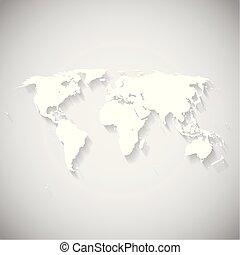 世界, 白, ベクトル, 地図, イラスト