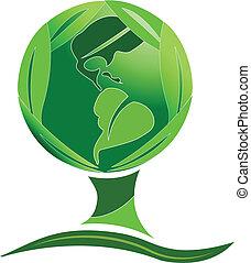 世界, 緑の木, leafs, ロゴ