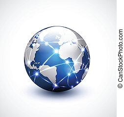 世界, 网絡, 通訊, 以及, 技術, 矢量, 插圖