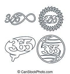 世界, 脳, アイコン, ロゴ, 無限点, アウトライン, 葉, イラスト, 365