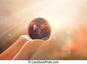 世界, 要素, 消費, ショー, これ, エネルギー, 供給される, campaign., 人間性, 惑星, nasa, 人間の術中, 地球, を除けば, 夜, イメージ
