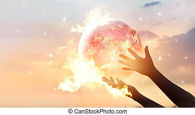 世界, 要素, 消費, ショー, これ, エネルギー, 供給される, campaign., 人間性, 惑星, nasa, 炎, 人間の術中, 地球, を除けば, 夜, イメージ