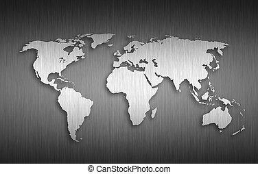 世界, 金属, 背景, 地図