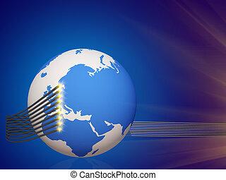 世界, 電纜, 電訊, 3d, cg