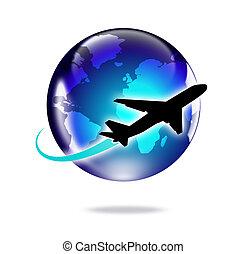 世界, 飛行機, 旅行, のまわり