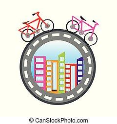 世界, bicycles, 概念, 大約