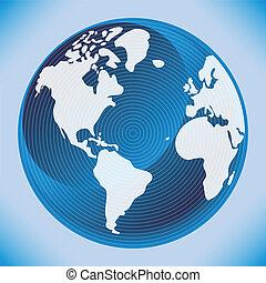 世界, design., デジタル, 地図