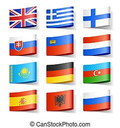 世界, flags., europe.