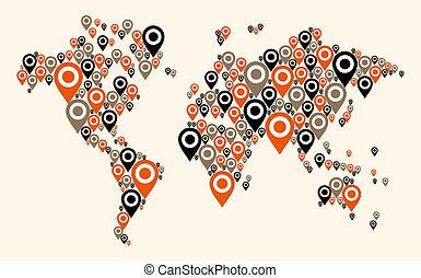 世界, gps, 背景, 地図