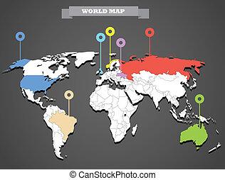 世界, infographic, テンプレート, 地図