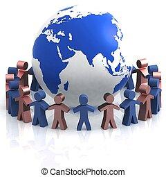 世界, partnership., 3d, イメージ, 隔離された, 白, バックグラウンド。