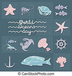 世界, words., 抽象的, 手書き, ポスター, 日, card., 海洋
